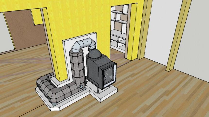 Vue 3D poêle de masse auto-construction assistée